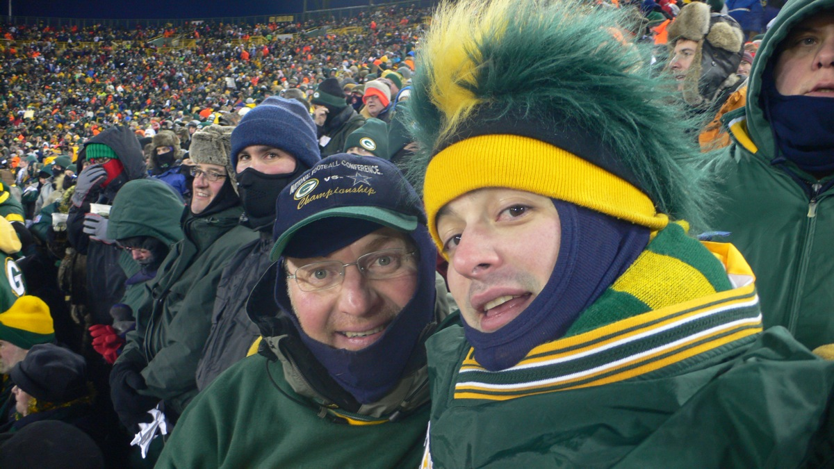<div class='photo-info'><span class='counter'>1 of 5</span>Posted Jul 26, 2010</div><div class='photo-title'>Second coldest game to the ICE Bowl</div><div class='photo-body'>My grandpa and grandma went to the original.  Favre you for throwing an INT!!!  NFC: New York Giants 23, Green Bay Packers 20 (OT) at Lambeau Field, Green Bay, Wisconsin Sunday, January 20, 2008     * Game time: 6:30 p.m. EST/5:30 p.m. CST     * Game weather: −1 °F (−18.3 °C), clear     * Game attendance: 72,740     * Referee: Terry McAulay</div>