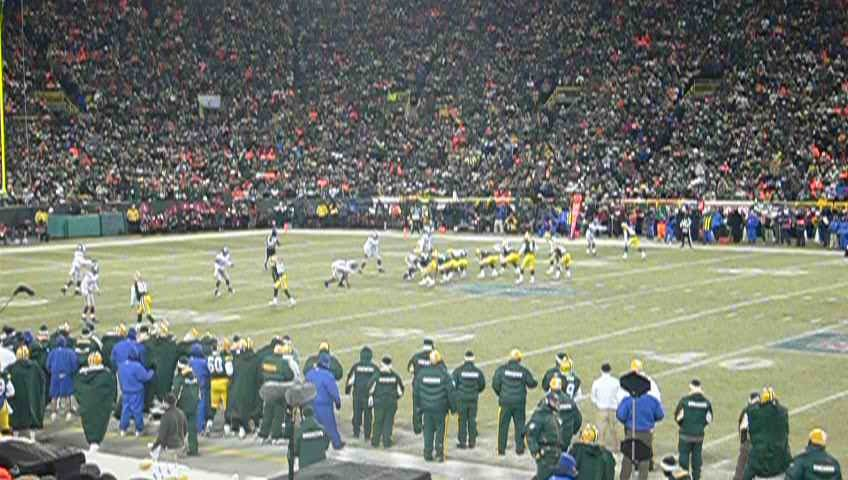 <div class='photo-info'><span class='counter'>4 of 5</span>Posted Jul 26, 2010</div><div class='photo-title'>Offense Drives</div><div class='photo-body'>NFC: New York Giants 23, Green Bay Packers 20 (OT) at Lambeau Field, Green Bay, Wisconsin Sunday, January 20, 2008     * Game time: 6:30 p.m. EST/5:30 p.m. CST     * Game weather: −1 °F (−18.3 °C), clear     * Game attendance: 72,740     * Referee: Terry McAulay  http://www.nfl.com/gamecenter/2008012001/2007/POST20/giants@packers</div>
