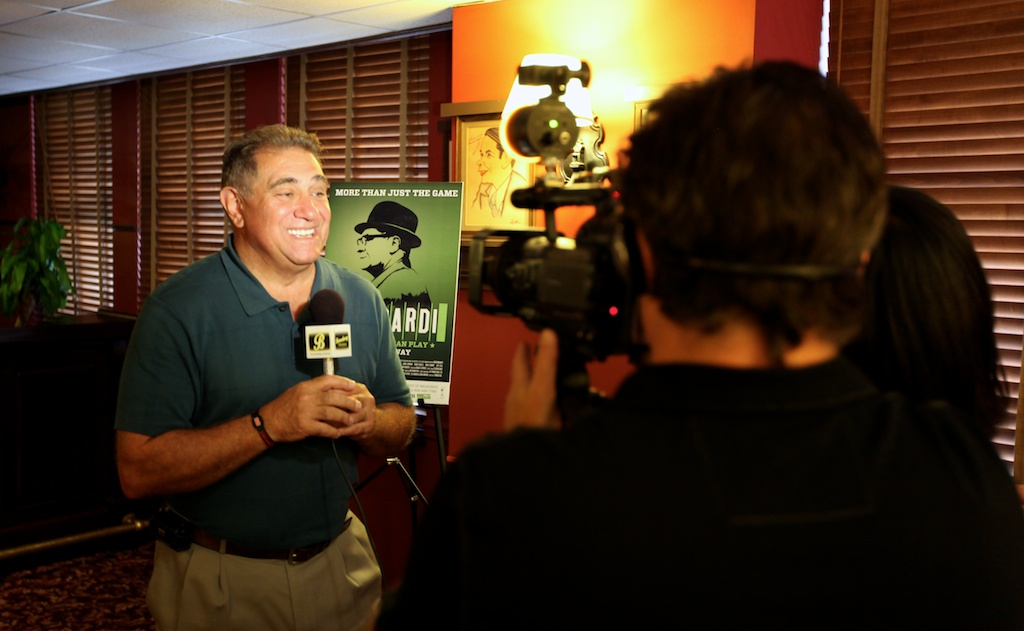 <div class='photo-info'><span class='counter'>6 of 11</span>Posted Sep 09, 2010</div><div class='photo-title'>Dan Lauria talks Vince lombardi</div><div class='photo-body'>Dan Lauria doing an interview for a TV station during a press event in NYC</div>