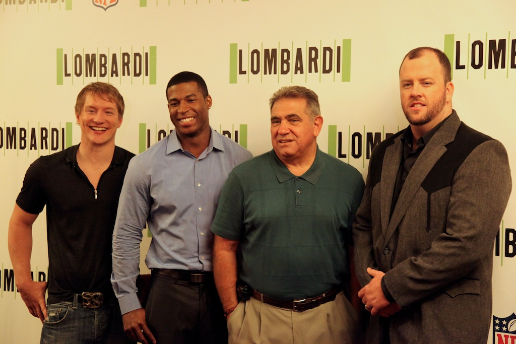 <div class='photo-info'><span class='counter'>5 of 11</span>Posted Sep 09, 2010</div><div class='photo-title'>Lombardi and his men</div><div class='photo-body'>Football Player Cast and the Coach   (from left to right) Bill Dawes (Paul Hornung), Robert Christopher Riley (Dave Robinson),Dan Lauria (as Vince Lombardi), Chris Sullivan (Jim Taylor)</div>