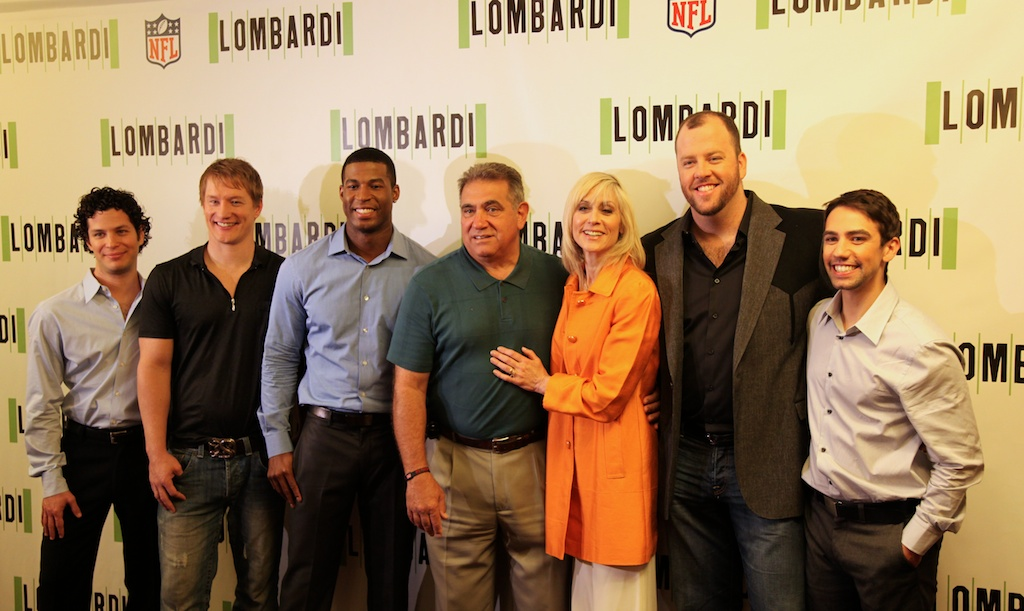<div class='photo-info'><span class='counter'>2 of 11</span>Posted Sep 09, 2010</div><div class='photo-title'>The Director and Cast of Lombardi</div><div class='photo-body'>(from left to right) Thomas Kail (director), Bill Dawes (Paul Hornung),  Robert Christopher Riley (Dave Robinson), Dan Lauria (Vince Lombardi), Judith Light (Marie Lombardi), Chris Sullivan (Jim Taylor), Keith Nobbs (Michael McCormick)</div>