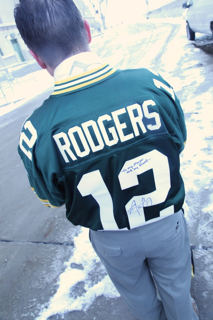 <div class='photo-info'><span class='counter'>33 of 49</span>Posted Jan 25, 2011</div><div class='photo-title'>Mayor Jim Schmitt Autographed Aaron Rodgers Jersey</div><div class='photo-body'>Rachel Manek of Fox 11 WLUK and Green Bay Wisconsin Mayor Jim Schmitt</div>