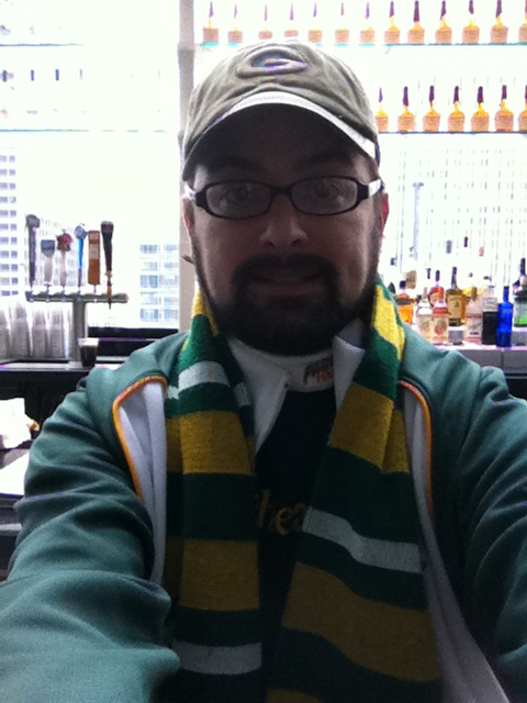 <div class='photo-info'><span class='counter'>36 of 49</span>Posted Jan 25, 2011</div><div class='photo-title'>Packer Nerd Corey Behnke</div><div class='photo-body'>@hyattchicago</div>