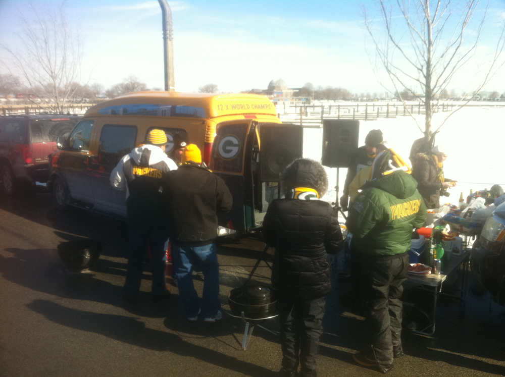 <div class='photo-info'><span class='counter'>49 of 49</span>Posted Jan 25, 2011</div><div class='photo-title'>Packer Fans Represent@!!!</div><div class='photo-body'>Random tailgate party @wallypingel and @coreybehnke found</div>