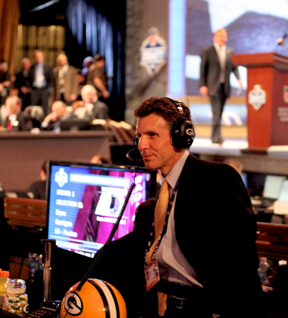 <div class='photo-info'><span class='counter'>40 of 50</span>Posted Apr 29, 2011</div><div class='photo-title'>Andrew Brandt</div><div class='photo-body'>Andrew Brandt talks on the Team phone line at the 2011 NFL Draft at Radio City Music Hall on April 29, 2011 in New York, NY.</div>
