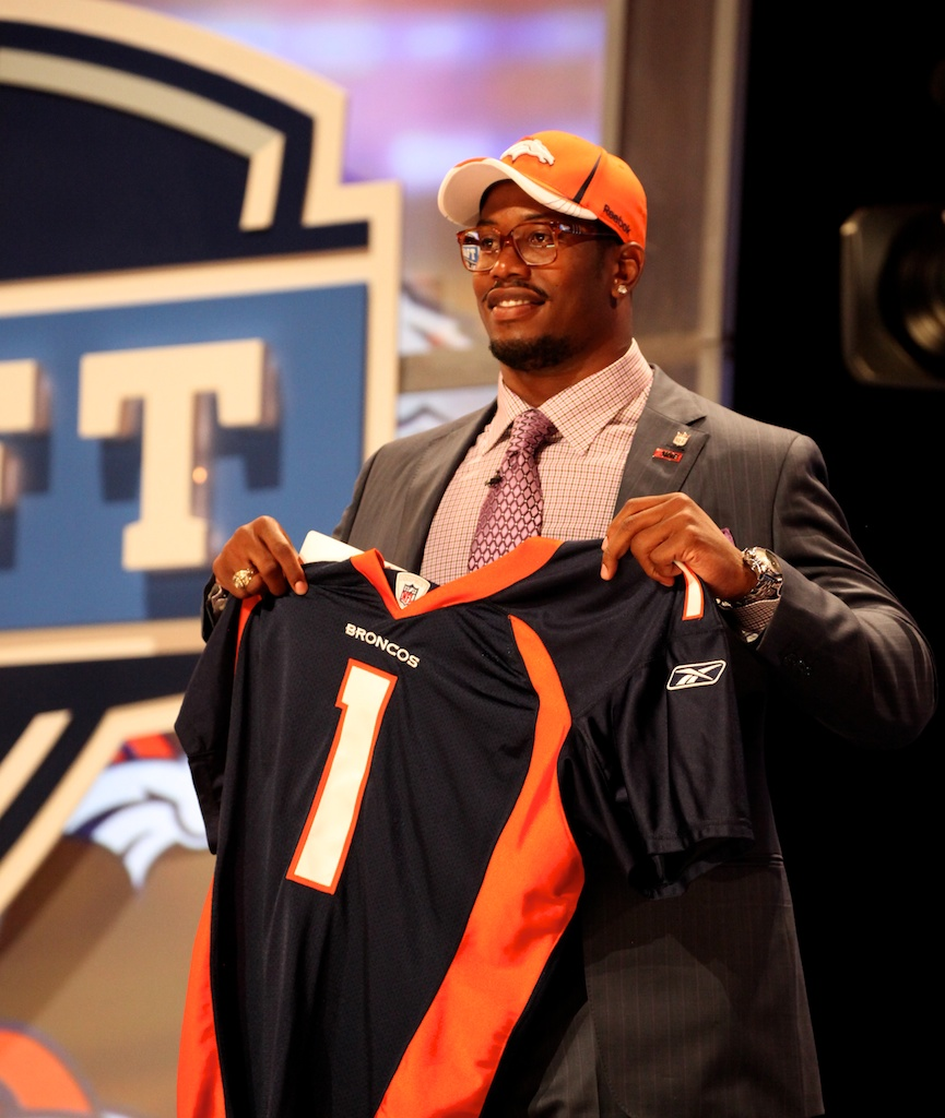 <div class='photo-info'><span class='counter'>30 of 50</span>Posted Apr 29, 2011</div><div class='photo-title'>Von Miller</div><div class='photo-body'>Von Miller after being selected by the Denver Broncos during the 2011 NFL Draft at Radio City Music Hall on April 28, 2011 in New York, NY.</div>