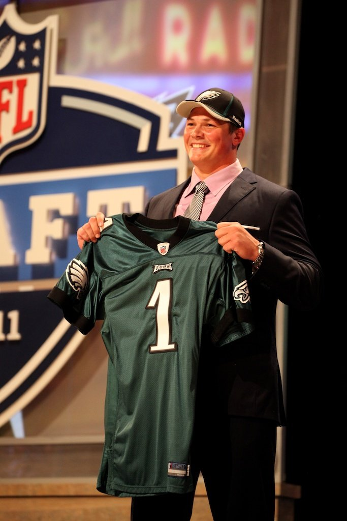 <div class='photo-info'><span class='counter'>48 of 50</span>Posted Apr 29, 2011</div><div class='photo-title'>Danny Watkins</div><div class='photo-body'>Danny Watkins after being selected by the Philadelphia Eagles during the 2011 NFL Draft at Radio City Music Hall on April 28, 2011 in New York, NY.</div>