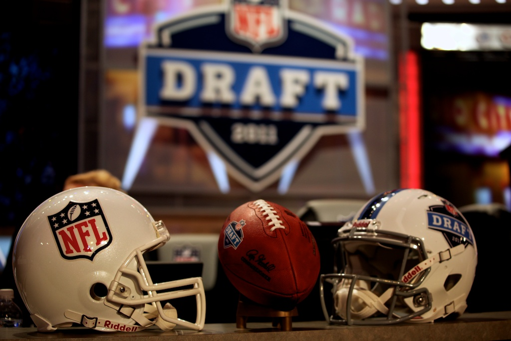 <div class='photo-info'><span class='counter'>8 of 50</span>Posted Apr 29, 2011</div><div class='photo-title'>NFL Draft Helmets</div><div class='photo-body'>Helmets at the 2011 NFL Draft at Radio City Music Hall on April 29, 2011 in New York, NY.</div>