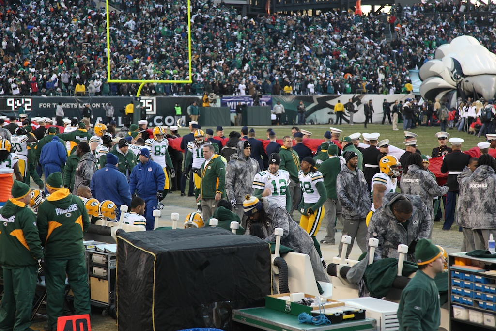 <div class='photo-info'><span class='counter'>8 of 24</span>Posted Jan 17, 2011</div><div class='photo-title'>Tramon Williams and Aaron Rodgers</div><div class='photo-body'>An interception in the end zone by CB Tramon Williams with 33 seconds left sealed a thrilling 21-16 victory over Philadelphia in an NFC Wild Card playoff game in front of 69,144 at Lincoln Financial Field.</div>