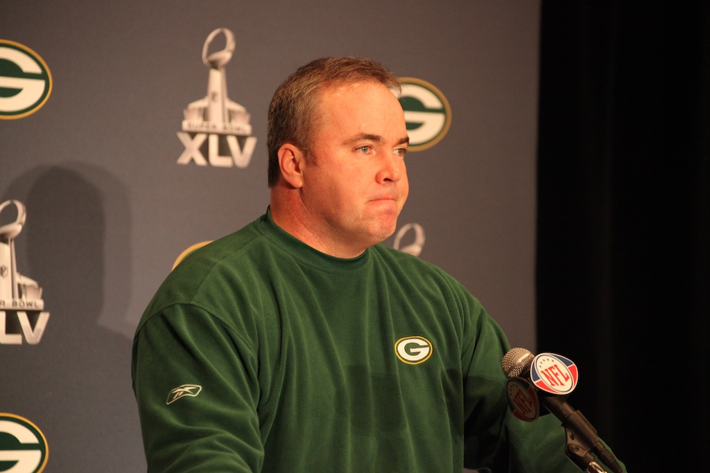 <div class='photo-info'><span class='counter'>38 of 42</span>Posted Feb 03, 2011</div><div class='photo-title'>Mike McCarthy talks to the media</div><div class='photo-body'>Super Bowl Day 4 with the Green Bay Packers. Thursday Feb 3rd 2011</div>