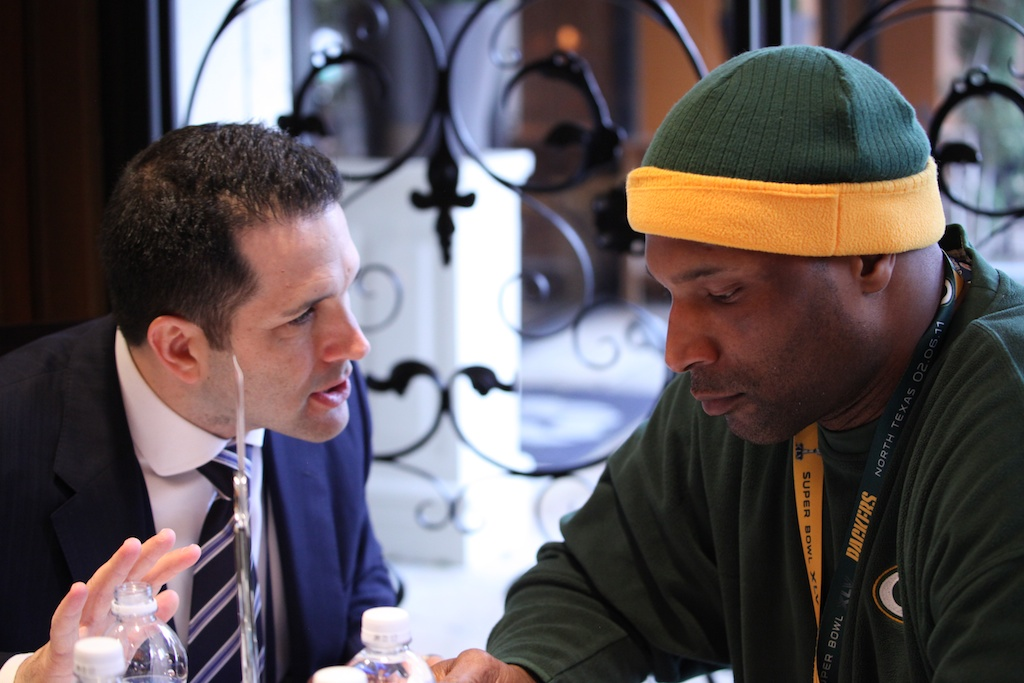 <div class='photo-info'><span class='counter'>10 of 42</span>Posted Feb 03, 2011</div><div class='photo-title'>Adam Schefter &amp; Coach Winston Moss</div><div class='photo-body'>Super Bowl Day 4 with the Green Bay Packers. Thursday Feb 3rd 2011</div>