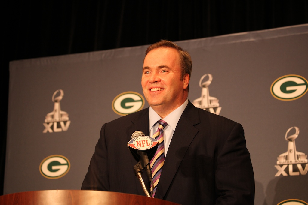 Mike McCarthy smiling at Media day