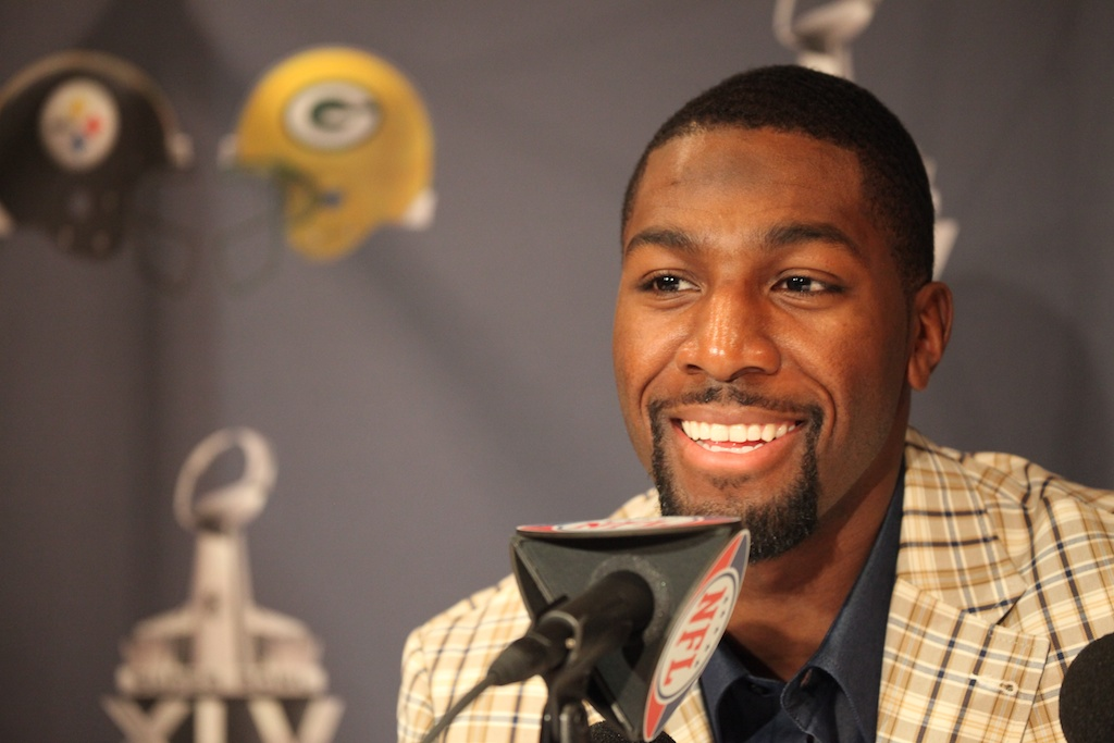 Greg jennings smiles at a question
