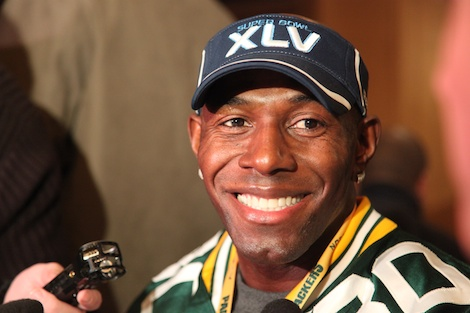 <div class='photo-info'><span class='counter'>26 of 55</span>Posted Feb 02, 2011</div><div class='photo-title'>Donald Driver</div><div class='photo-body'>Superbowl Day 3 with the Green Bay Packers. Wednesday Feb 2nd 2011</div>