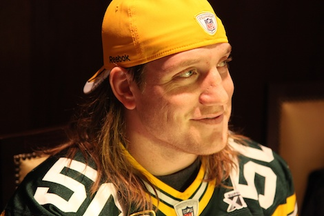 <div class='photo-info'><span class='counter'>6 of 55</span>Posted Feb 02, 2011</div><div class='photo-title'>A.J. Hawk</div><div class='photo-body'>Superbowl Day 3 with the Green Bay Packers. Wednesday Feb 2nd 2011</div>