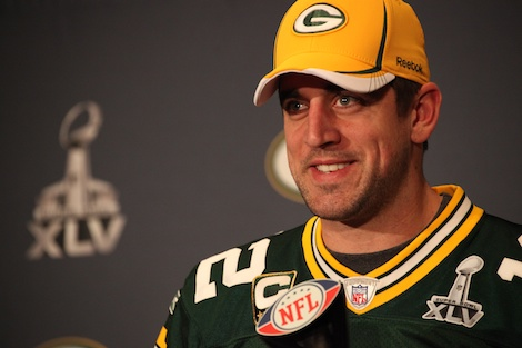 <div class='photo-info'><span class='counter'>52 of 55</span>Posted Feb 02, 2011</div><div class='photo-title'>Aaron Rodgers addresses media</div><div class='photo-body'>Superbowl Day 3 with the Green Bay Packers. Wednesday Feb 2nd 2011</div>