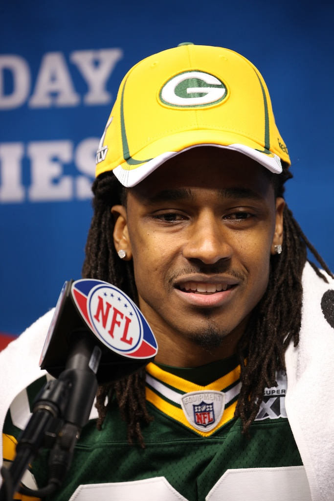 <div class='photo-info'><span class='counter'>58 of 136</span>Posted Feb 01, 2011</div><div class='photo-title'>Tramon Williams</div><div class='photo-body'>Superbowl Media Day with the Green Bay Packers. Tuesday Feb 1st 2011</div>