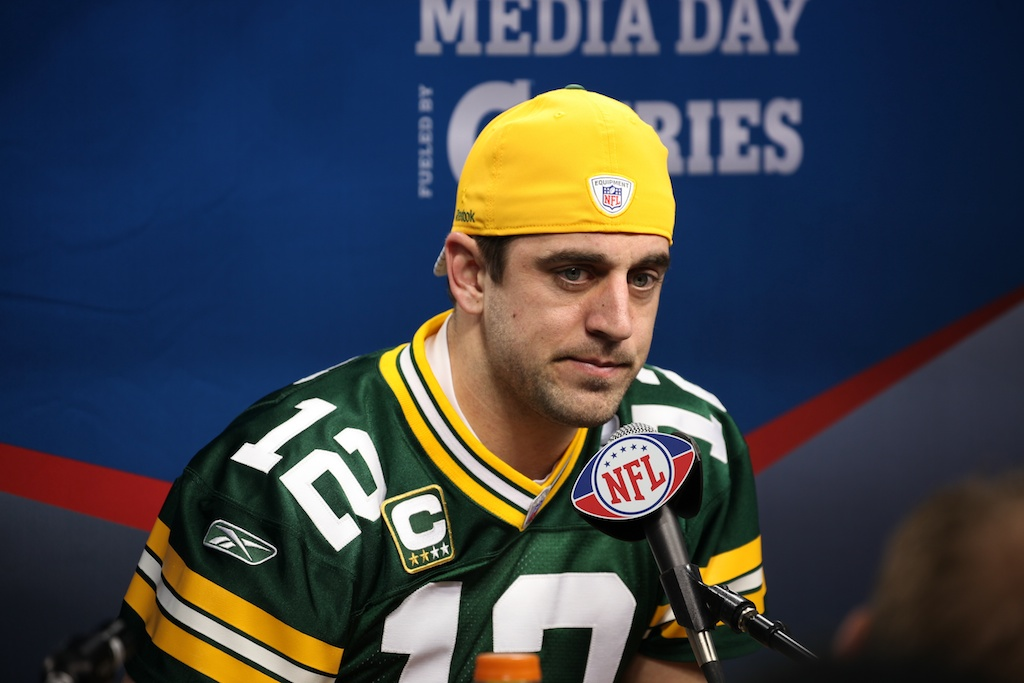 <div class='photo-info'><span class='counter'>111 of 136</span>Posted Feb 01, 2011</div><div class='photo-title'>Aaron Rodgers</div><div class='photo-body'>Superbowl Media Day with the Green Bay Packers. Tuesday Feb 1st 2011</div>