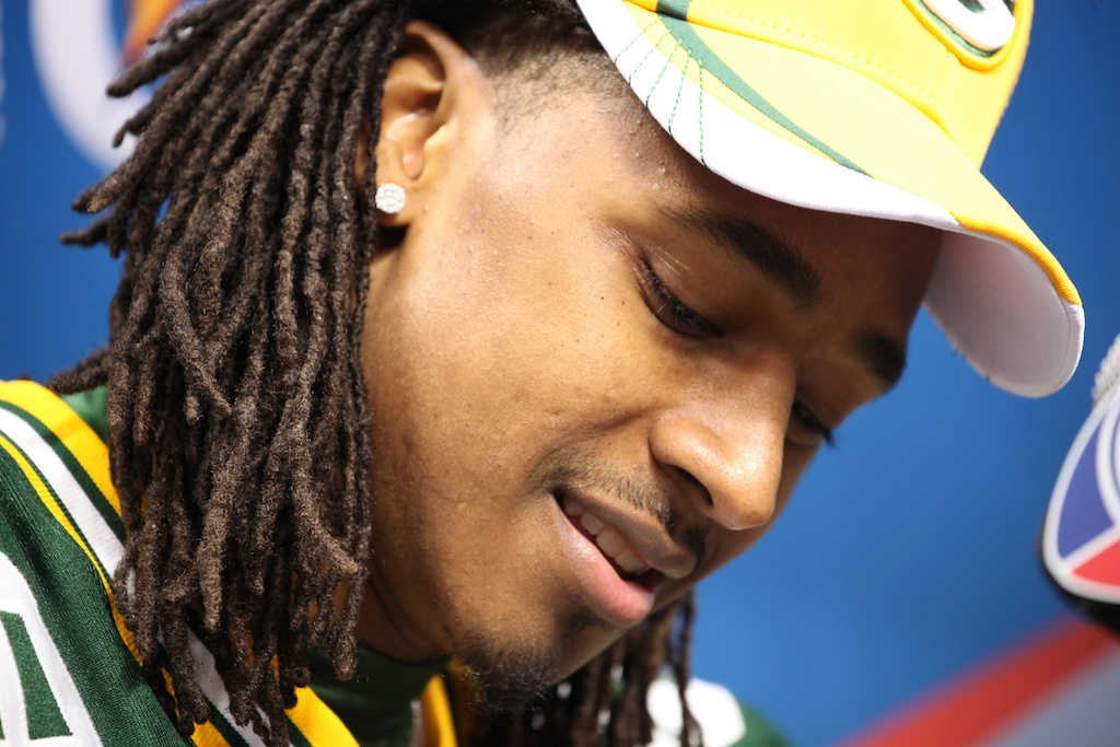 <div class='photo-info'><span class='counter'>116 of 136</span>Posted Feb 01, 2011</div><div class='photo-title'>Tramon Williams</div><div class='photo-body'>Superbowl Media Day with the Green Bay Packers. Tuesday Feb 1st 2011</div>
