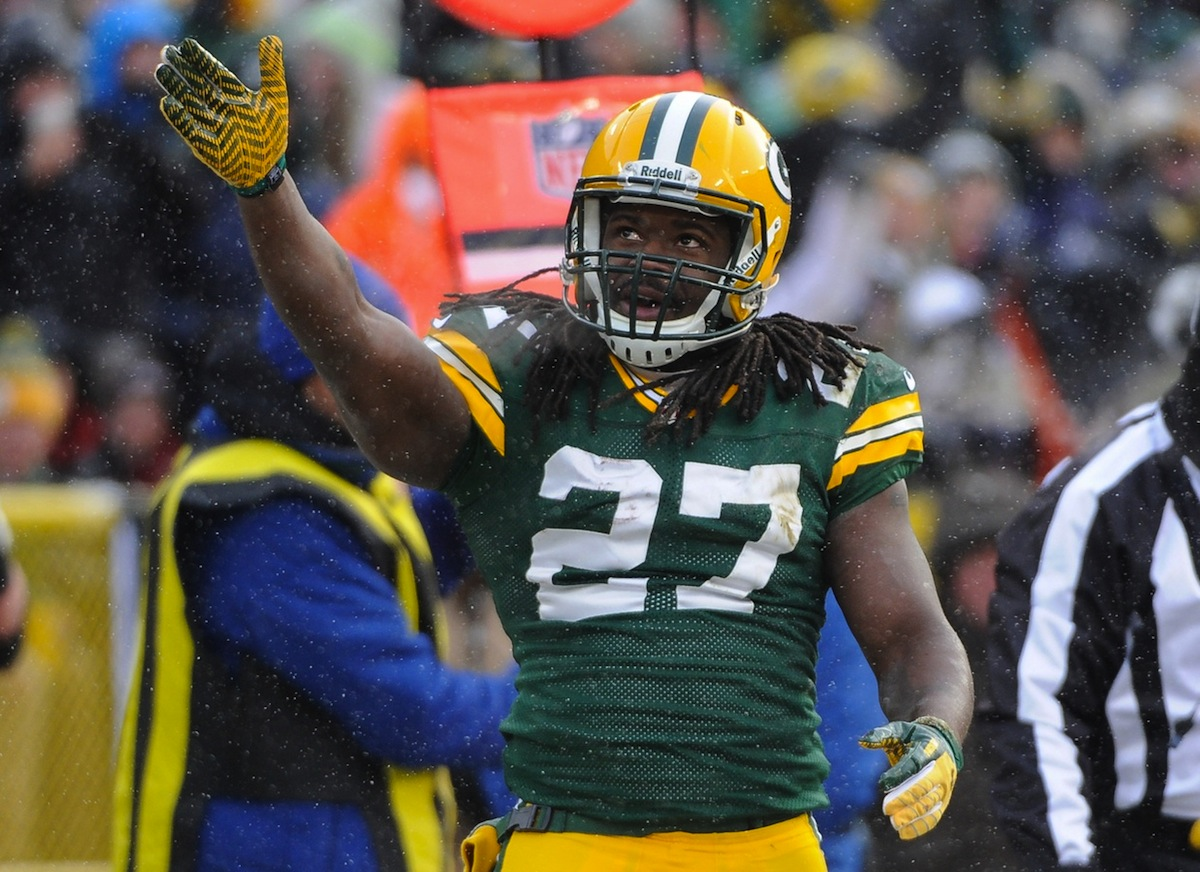 Green Bay Packers running back Eddie Lacy by Benny Sieu—USA TODAY Sports.