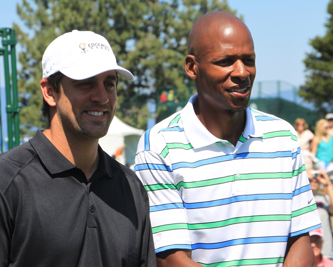 Packers quarterback Aaron Rodgers at the 2013 American Century Championship by TahoeCelebrityGolf.com.
