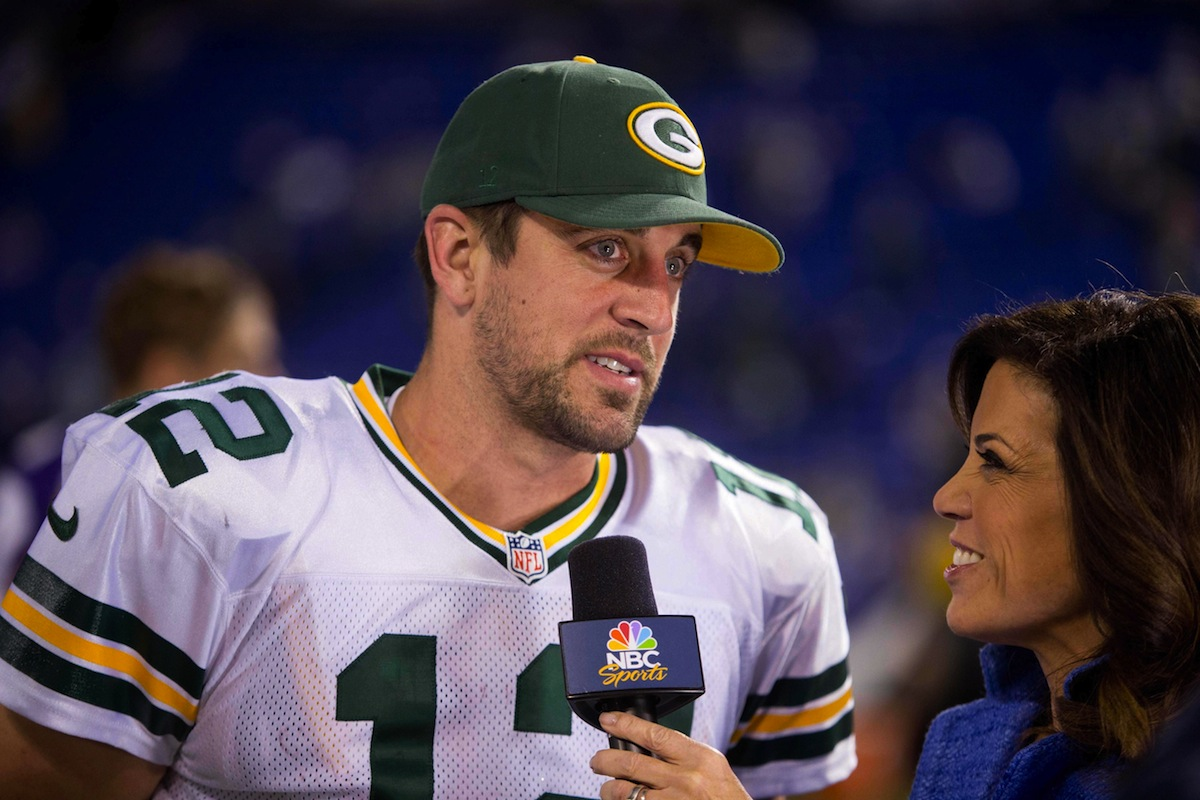 Green Bay Packers quarterback and NBC reporter Michelle Tafoya by Bruce Kluckhohn—USA TODAY Sports.