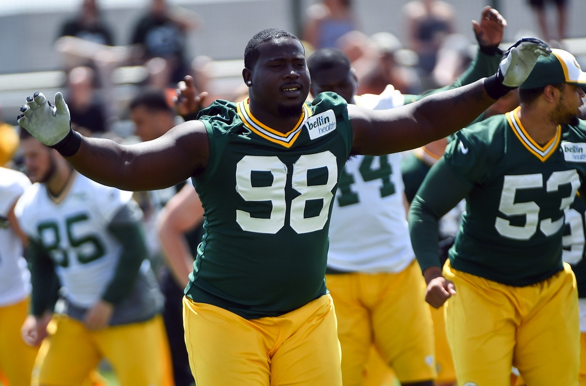 Green Bay Packers defensive lineman Letroy Guion by Benny Sieu—USA TODAY Sports.