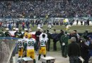Jarrett Bush and CJ Wilson after the National Anthem